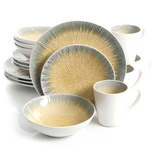 Gibson ShangriLa Court 16pc Dinnerware Set, Yellow