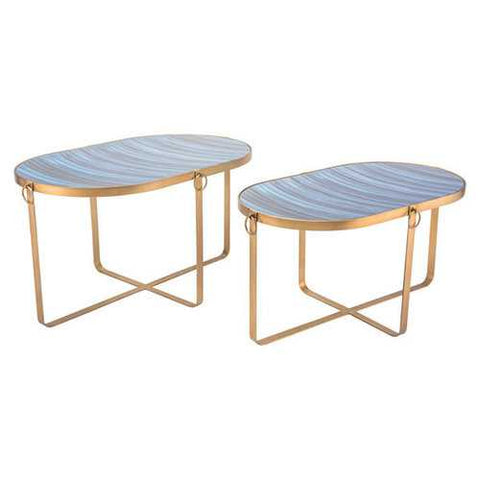Set Of 2 Table Blue & Antique G