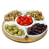 Elama Signature 12 1/4 Inch 6pc Lazy Susan Appetizer and Condiment Server Set with 5 Serving Dishes and a Bamboo Lazy Suzan Serving Tray