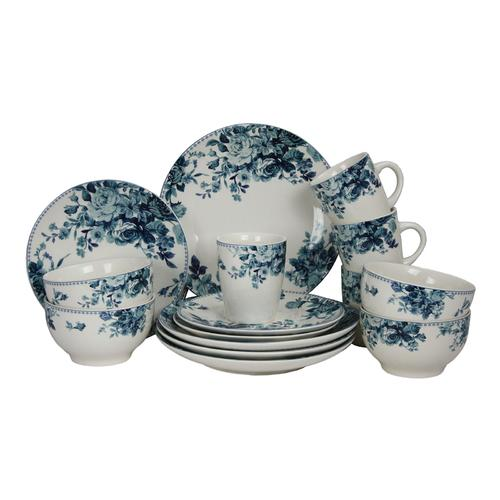 Elama Traditional Blue Rose 16 Piece Dinnerware Set