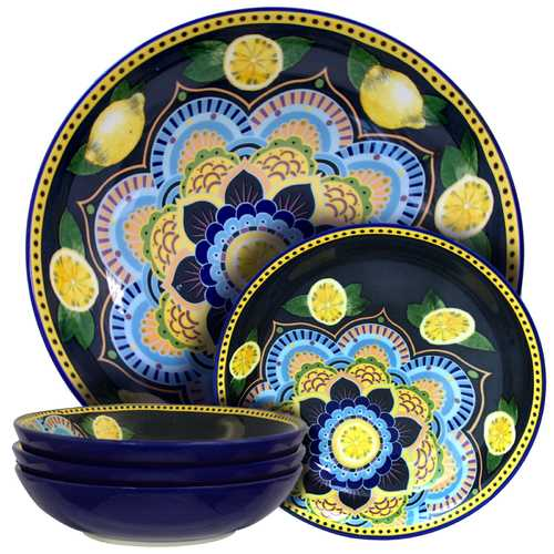 Elama Luna Di Limon 5 Piece Pasta Serving Bowl Set