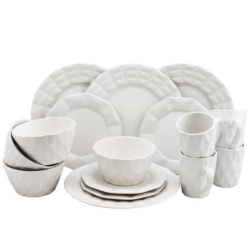 Elama Retro Chic 16-Piece Glazed Dinnerware Set in White