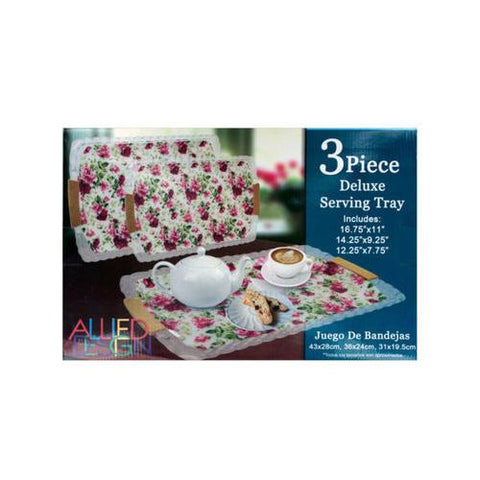 Rose Print Serving Tray Set ( Case of 8 )