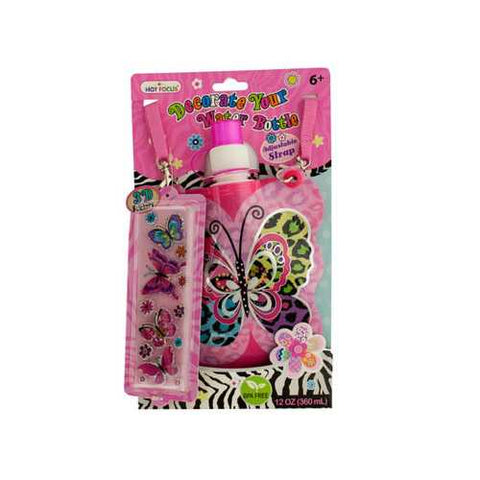 Butterfly Decorate Your Water Bottle Kit with 3D Stickers ( Case of 36 )