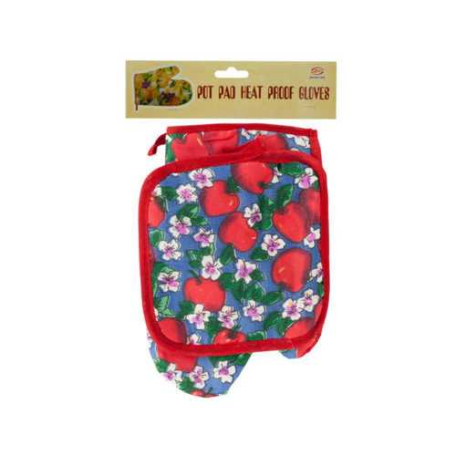 Quilted Fruit & Floral Print Oven Mitt & Pot Holder Set ( Case of 36 )