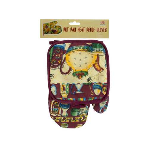 Quilted Country Print Oven Mitt & Pot Holder Set ( Case of 24 )