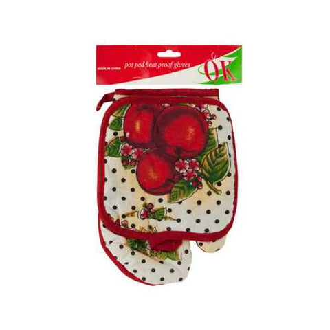 Quilted Fruit Print Oven Mitt & Pot Holder Set ( Case of 24 )