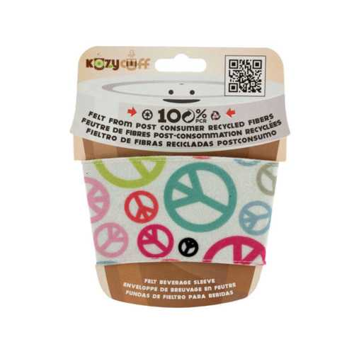 Peace Sign Kozy Cuff Felt Beverage Sleeve ( Case of 96 )