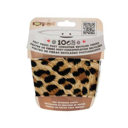 Leopard Kozy Cuff Felt Beverage Sleeve ( Case of 32 )