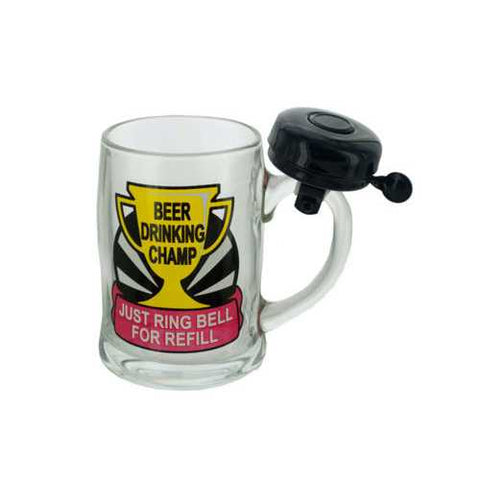 Beer Drinking Champ Glass Mug with Bell ( Case of 6 )