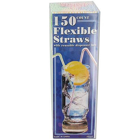 Flexible Straws with Dispenser Box ( Case of 24 )