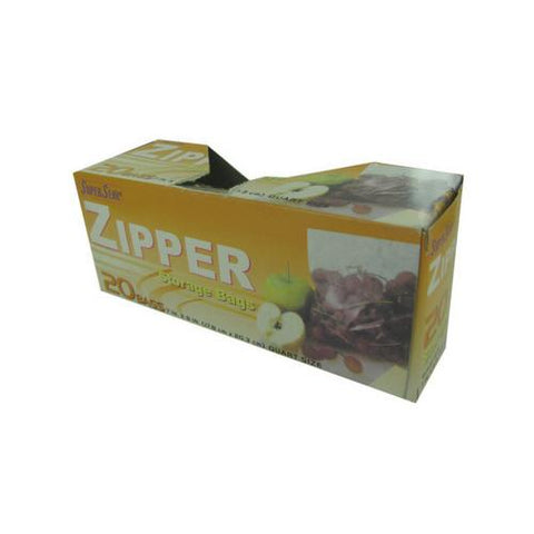 Zipper storage bags quart size box of 20 ( Case of 12 )