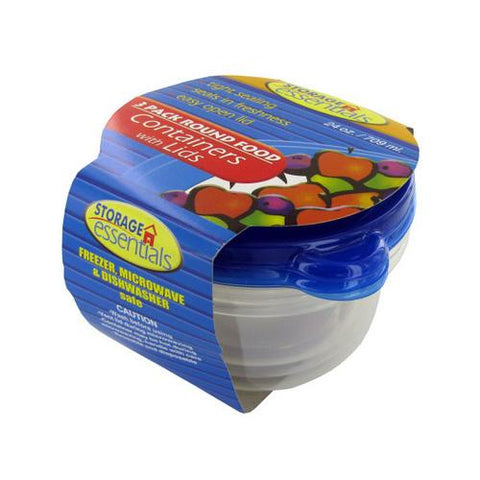 Round food containers with lid ( Case of 12 )