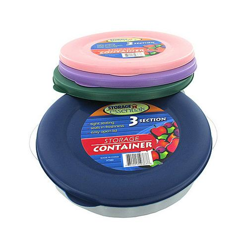 Three-section round storage container with lid (assorted colors) ( Case of 48 )
