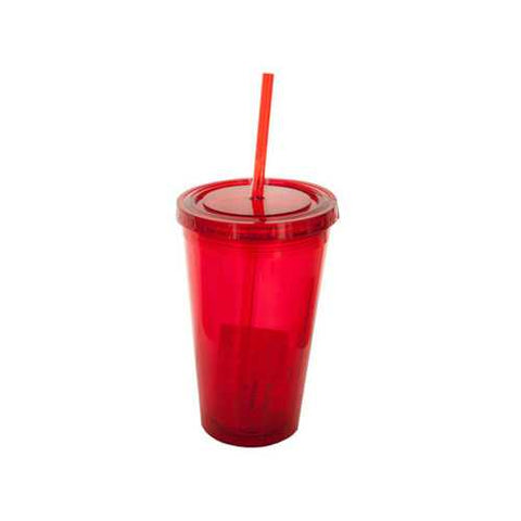16 oz Clear Red Double Wall Tumbler with Straw ( Case of 24 )