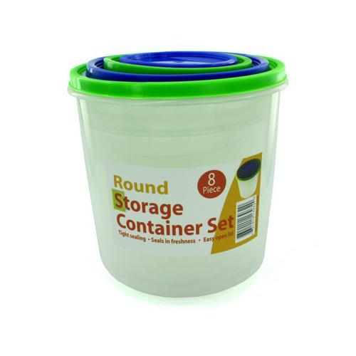 4 Pack round storage container set with lids ( Case of 1 )