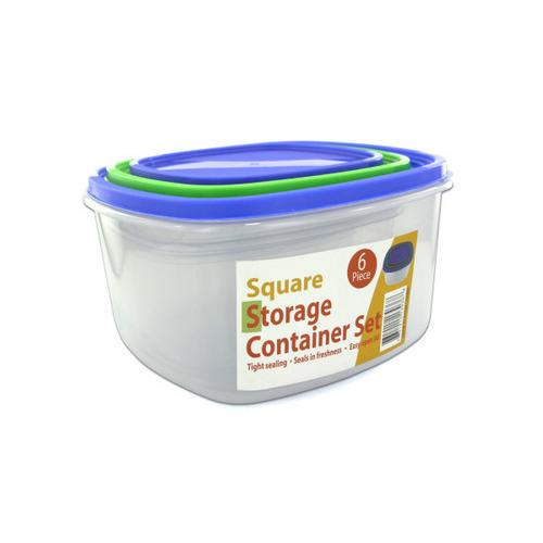 3 Pack square storage container set sith lids ( Case of 2 )
