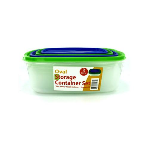 4 Pack oval storage containers with lids ( Case of 1 )