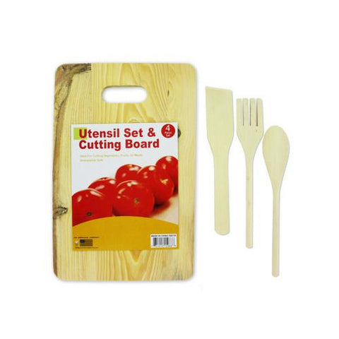 Cutting board with wood utensils ( Case of 16 )