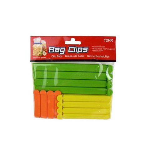Bag clips pack of 12 assorted colors and sizes ( Case of 48 )