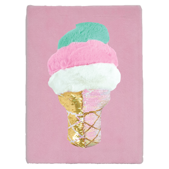 Swirl Cone Furry Reversible Sequin Journal