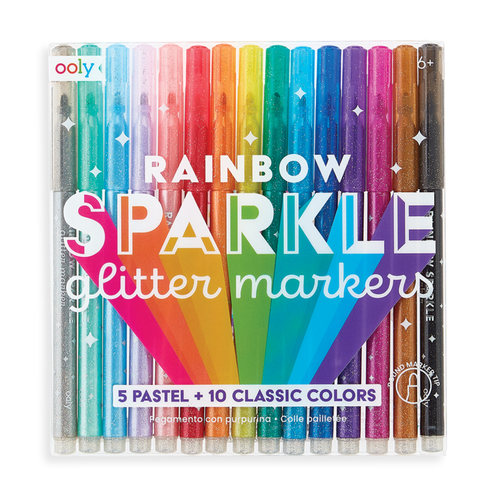 Rainbow Sparkle Glitter Markers Set of 15