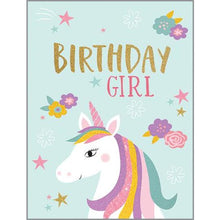 Load image into Gallery viewer, Unicorn Birthday Glitter Card