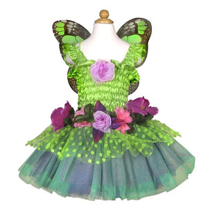 Green Fairy Blooms Deluxe Dress & Wings Size 5-6