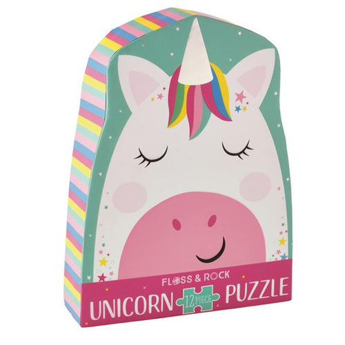 12 Piece Rainbow Unicorn Shaped Puzzle