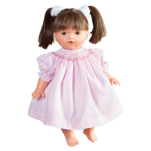 "10"" Rose Doll Brunette Pigtails With Brown Eyes"