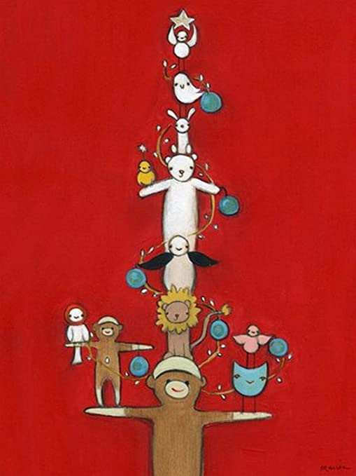 Sock Monkey Tree 18x24 Wall Art