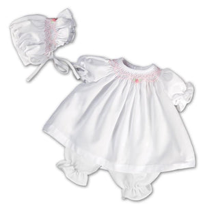 "10"" White Smocked Doll Dress With Bonnet"