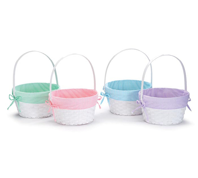 White Basket With Striped Liners