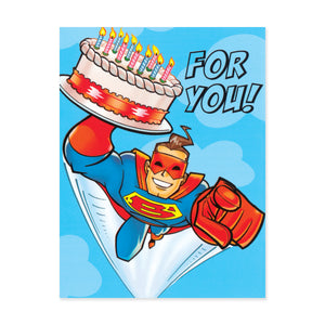 Super Hero With Cake Enclosure Card