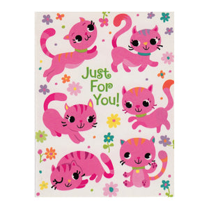 Pink Kitties Just For You Enclosure Card