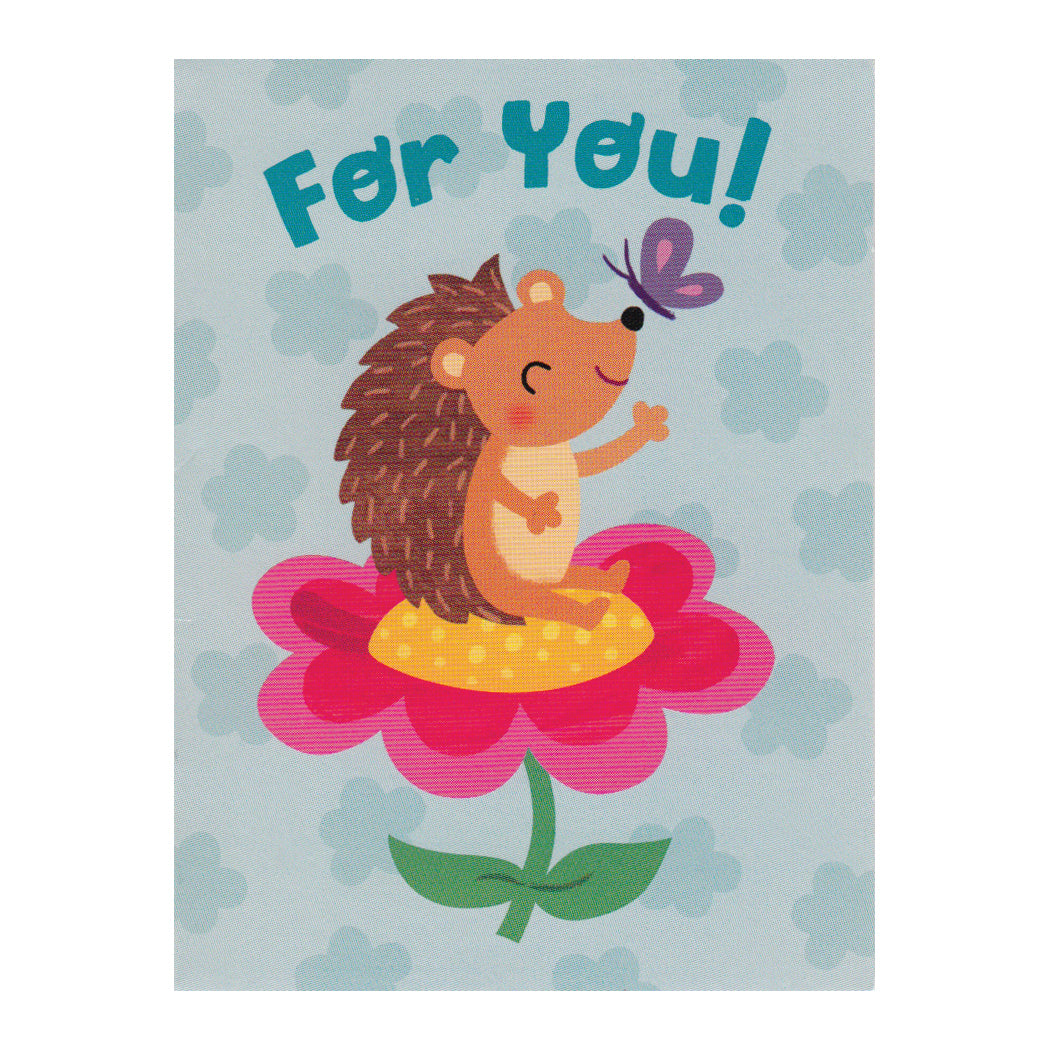 Hedgehog On Flower For You Enclosure Card