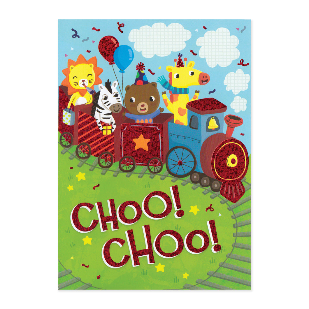 Choo Choo Animal Train Birthday Card