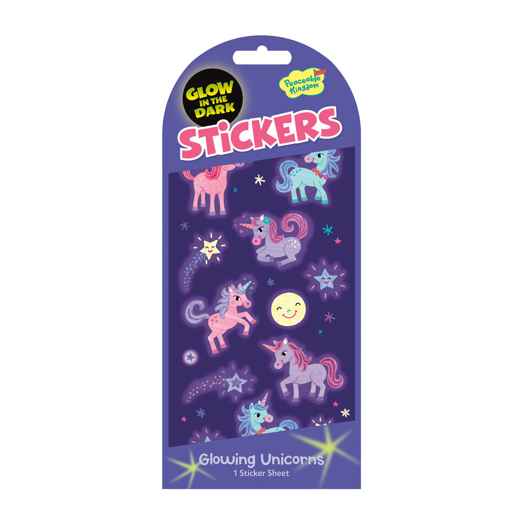 Glowing Unicorns Glow In The Dark Sticker Pack
