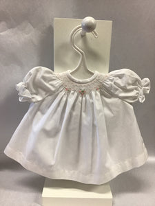 "15"" White With Pink Smocked Doll Dress"