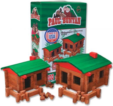 Paul Bunyan Deluxe Wood Log Cabin Set 200 Pieces