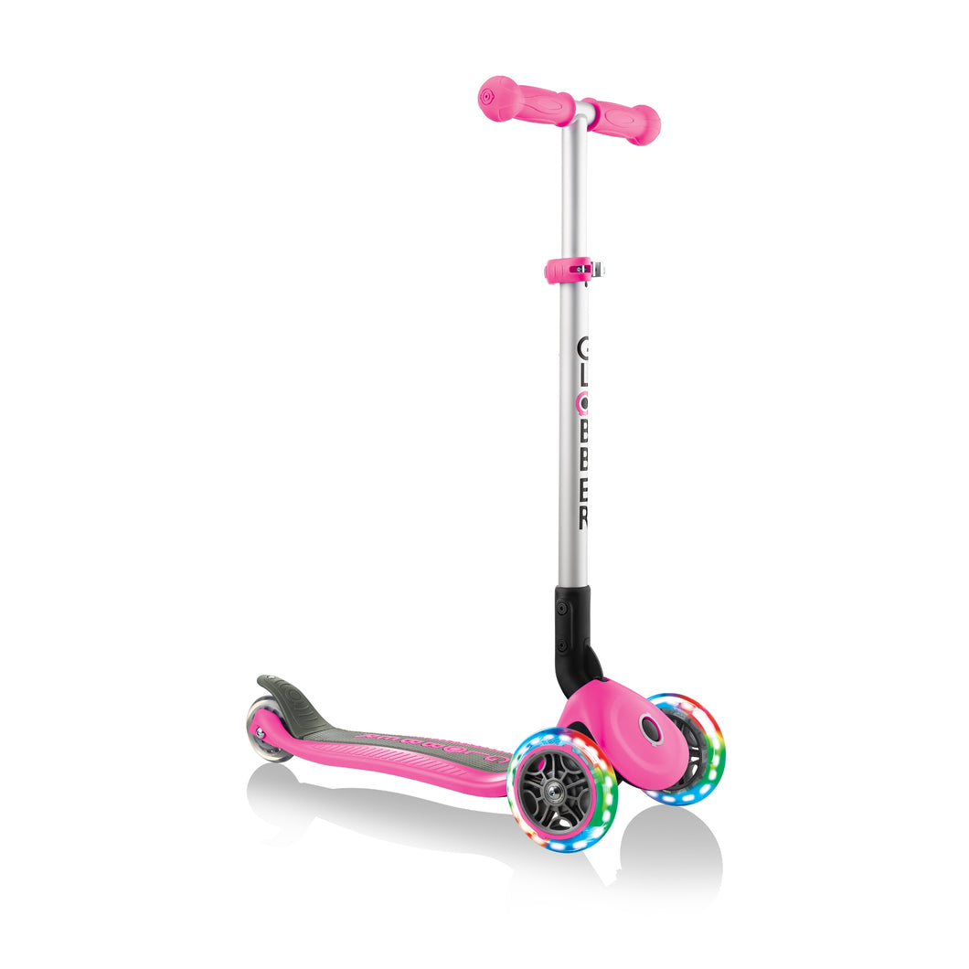 Neon Pink Primo Foldable Scooter With Lights