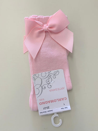 CARLO MAGNO KNEE HIGH BOW SOCKS - PINK