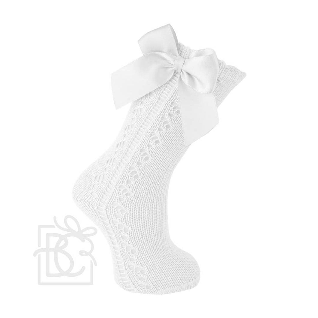 CARLO MAGNO SCOTISH YARN BOW KNEE HIGH SOCKS - WHITE