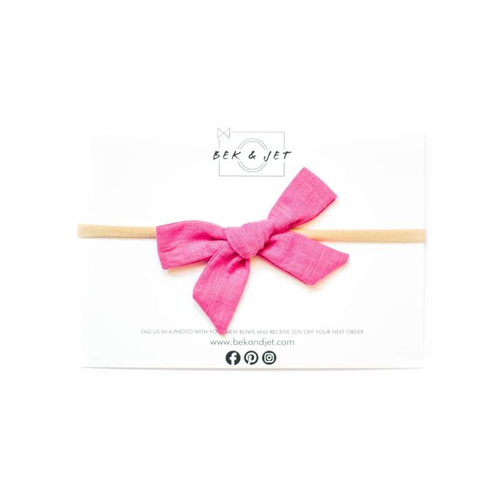 ICONIC HOT PINK SKINNY BOW HEADBAND