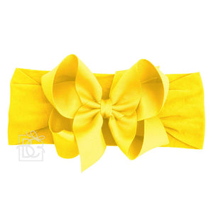 "CLASSIC GROSGRAIN BOW 4.5"" LARGE WITH WIDE HEADBAND - BRIGHT YELLOW"