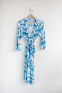 LITTLE SLEEPIES BLUEBERRY PLAID WOMEN'S BAMBOO VISCOSE ROBE
