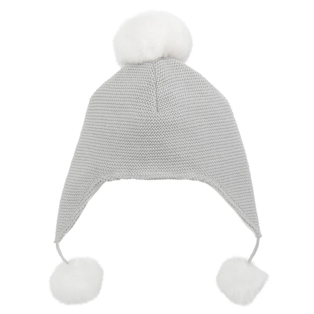 GRAY POM AVIATOR HAT