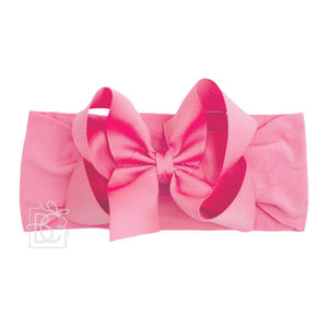 "CLASSIC GROSGRAIN BOW 4.5"" LARGE WITH WIDE HEADBAND - HOT PINK"
