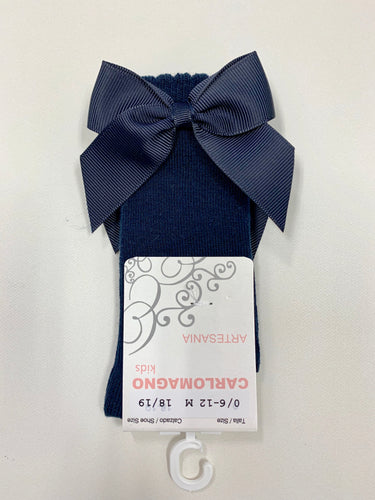 CARLO MAGNO KNEE HIGH GROSGRAIN BOW SOCKS - NAVY