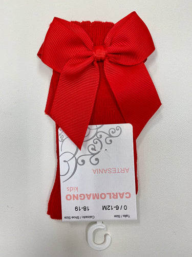 CARLO MAGNO KNEE HIGH GROSGRAIN BOW SOCKS - RED